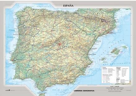 Cartina Fisico Politica Usa.Spagna Fisico Politica Espana Carelli Store